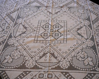 White darned filet lace tablecloth