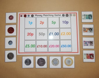 Money Matching Game - British Money - KS1, EYFS, Numeracy, Teaching Resource, Educational, Early Learning,