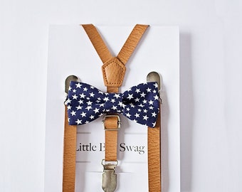 Boys 4th of July Outfit, Boy Birthday Outfit, 1st Birthday Boy, Leather Suspenders, Navy Bow Tie, Stars Bow Tie, Bow Tie Suspender Boys Gift