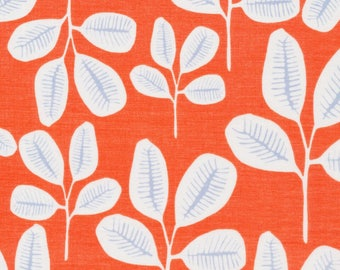 Friday Fronds, The Floret Line by Cloud9 Fabrics, White Stylized Leaves on Tangerine, Semi-Sheer Batiste 100% Organic Cotton, Half Yard