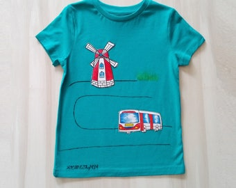 Ocean blue t-shirt, t-shirt with hand-painted fabric. Windmill, bus. Kids t-shirt. Hand painted t-shirt. Cotton t-shirt, 5 years old kids