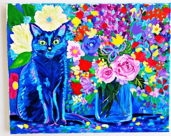 Cat painting, floral art, colorful painting, original acrylic painting, boho home decor, blue cat, 16x20 art, ink and acrylic mixed media