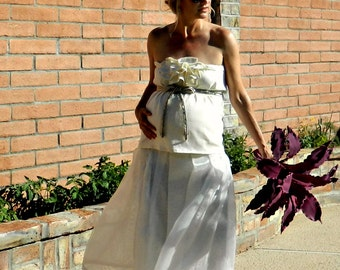 Wedding Dress Maternity-Pregnant Bride-Wedding Dress-Organza Mon Cherie Tea Length Wrap Skirt Separate-Chic Modern Bridal Clothing-All Sizes