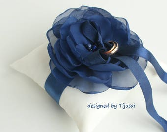 Wedding ring bearer pillow with navy blue flower ---ring pillow, wedding pillow, ring cushion, bride pillow, ready to ship