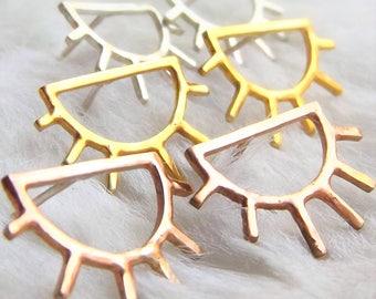 Sun earrings- Sunny studs- Sun studs- Celestial earrings- Geometric sun- Everyday earrings- Sun- Ethical earrings- Gift for her- Ethical
