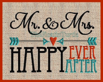 Mr and Mrs Happy Ever after Embroidery Design with Arrow embellishments 5x7 size