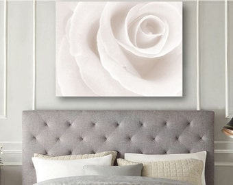 Minimalist White Art Print - Large Wall Art Abstract Art Photography Featuring a Single White Rose 8x10 - 16x20