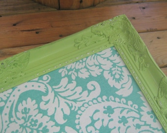 Ornate Framed Turquoise Damask Pin Board Apple Green or YOu Pick Color of Frame Magnetic Board Many Sizes Available Office Bulletin Board