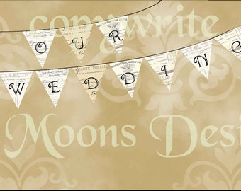French Our Wedding Vintage Bunting Printable