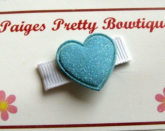 Itty Bitty Light Blue Glitter Itty Bitty Heart Clip-Snap Clip-Baby Hair Clip-Toddler Hair Clip-Fine Hair Clip