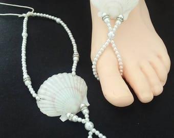 Barefoot Sandals, Seashell barefoot sandals, Beach wedding Barefoot Sandal, Bead Barefoot sandals, Bridal Barefoot Sandals, footless sandal