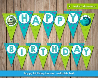 Monsters inc party etsy monsters inc banner printable happy birthday party banner decoration editable text instant pdf download filmwisefo