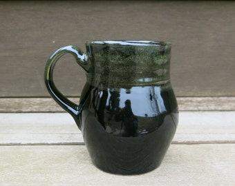 Handmade Ceramic Mug, Coffee Mug, Pottery Mug, Tea Mug, Smooth Black and Green Gift Idea for him, Artisan Pottery by Licia Lucas Pfadt