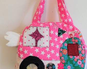 Handcrafted bag, Machine Quilted, Vintage Camper, 9 Inches x 10 Inches x 3 Inches Deep