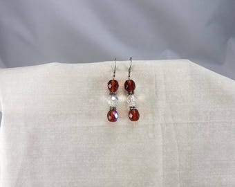 beaded jewelry,bling,earrings,sparkle,brown,white,hypoallergenic,