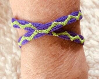 Handcrafted Embroidered Purple Double Wrap Bracelet
