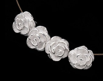 4 of 925 Sterling Silver Rose Charms 6.7mm. :th1980