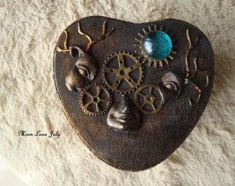 Box has fairy Steampunk jewelry Black and bronze