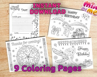 Mia and me Birthday Party Coloring Pages / Instant Download / Printable Digital / PDF / 9 pages (Non-Personalized)