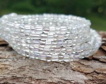 Clear glass beaded wrap bracelet