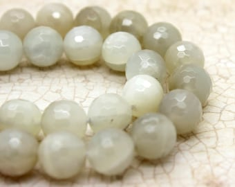 Gray Moonstone Faceted Round Beads Natural Gemstone (6mm 8mm 10mm 12mm)