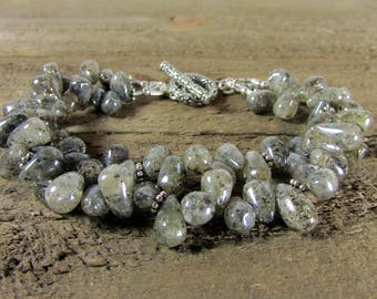 Mystic Labradorite Bracelet, Two strand Bracelet, Labradorite Double Strand Bracelet, Original Bracelet
