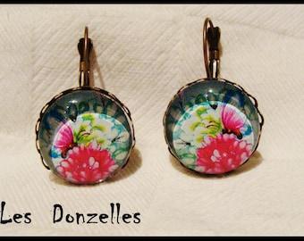 Earrings cabochon - Butterfly - vintage-