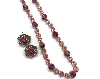 Signed Hobe Jewelry Set, Vintage 1960s Set, Pink Beaded Necklace and Earrings, Costume Jewelry, Demi Parure