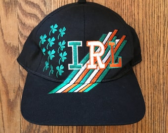 Vintage Ireland Irish IRL Shamrock Irish Blockhead Snapback Hat Baseball Cap