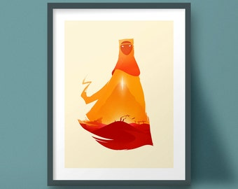 Journey Art Print Video Game Poster Landscape Design