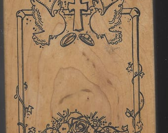 Wedding Invitation or Engagement Invitation Wood Stamp by the Stamp Pad Company Doves, Cross, Rings and Roses Rubber Stamp Retired Stamps