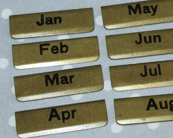 Vintage Steel File Tabs Bookmark Card Files Signals Brass Enamel Organize Month Monthly Labels