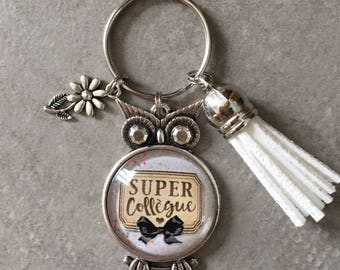 Coworker - OWL key ring 25mm glass cabochon