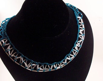 American Inspired Necklace Pattern, Beading Tutorial in PDF, SALE