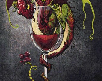 Red Wine Dragon  - emailed PDF cross-stitch chart / pattern, original art © Stanley Morrison  licenced by Paine Free Crafts