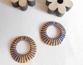 sequins 2 enamel 22 mm Navy blue yellow pattern