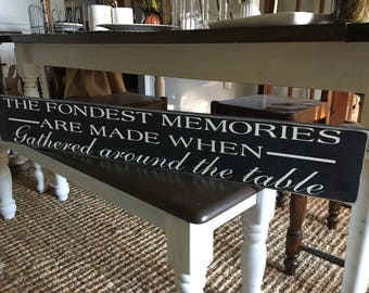 The Fondest Memories Are Made When Gathered Around The Table / Kitchen Signs  / Rustic Signs
