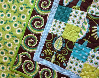 20% off sale- Whimsy Doozie- aqua, green, and brown baby quilt- was 109.00