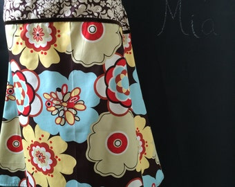 A-line SKIRT - Alexander Henry - Chocolate Kleo - Made in ANY Size - Boutique Mia