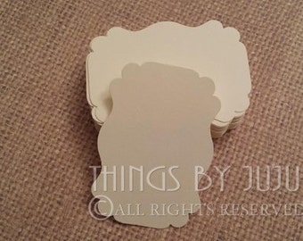 Escort Cards Tags Bridal Shower Wedding Favors Baby Shower Place Cards Food Labels Candy Table Ivory Wedding Food Buffet Brackets  2.25x1.5