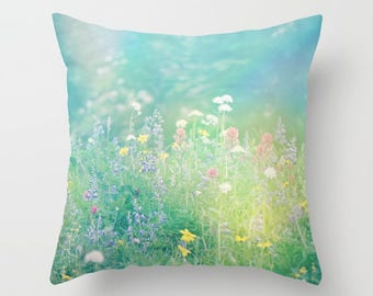Throw Pillow Case Cover, Mountain Wildflowers, Summertime, Wilderness,Photography by RDelean Designs