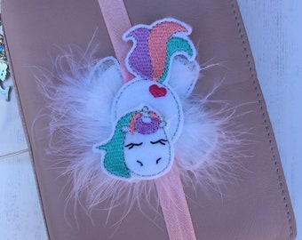 Unicorn Planner Band, planner accessories, fluffy unicorn planner band, unicorn planner decoration, TN accessory, unicorn bookmark