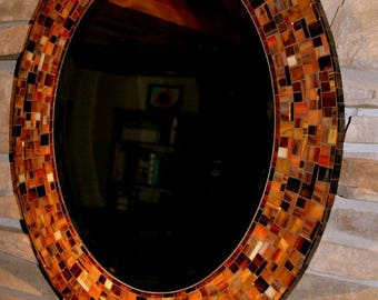 Shades of Brown stained glass mosaic mirror