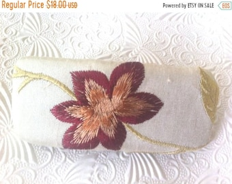 CLEARANCE - Ivory floral hair barrette, embroidered ponytail holder
