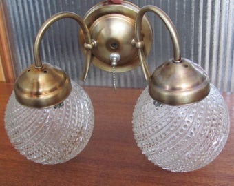 Vintage 70's Double Hobnail Globe and Gold Tone Wall Sconce Light Fixture - 70's Lighting - Traditional Home Decor - Powder Room - Tudor
