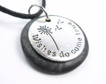 Wishes Do Come True Necklace, Word Pendant, Polymer Clay Inspirational Jewelry