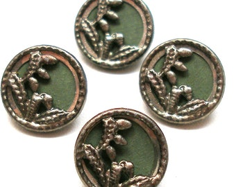 "4 Antique BUTTONS, Art Nouveau flowers in green, 9/16"", unused."