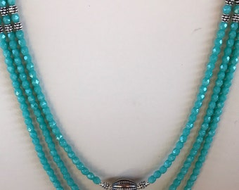 Turquoise Glass Bead Multistrand Necklace
