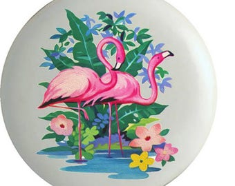 Tropical  Flamingo Ceramic Knobs Pulls Kitchen Drawer Cabinet Vanity