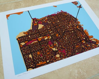 San Francisco Art Map - Limited Edition Contemporary Giclée Print